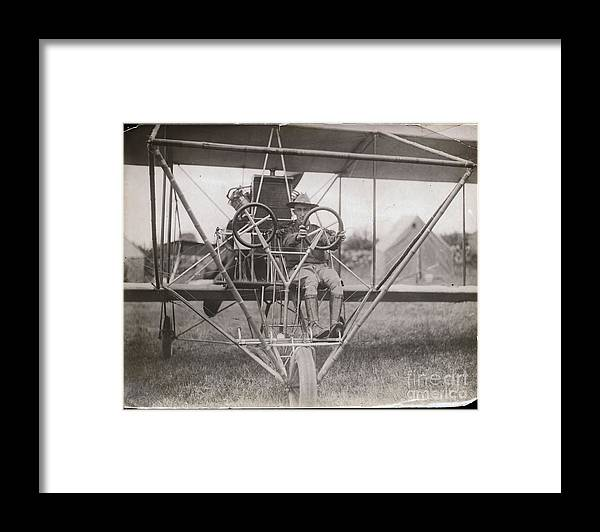 People Framed Print featuring the photograph Lieutenant Geiger Sitting In Cockpit by Bettmann