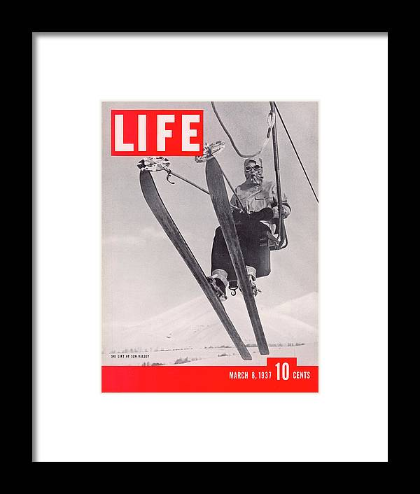 Skiing Framed Print featuring the photograph Life Cover 03-08-1937 Skier Riding The by Alfred Eisenstaedt