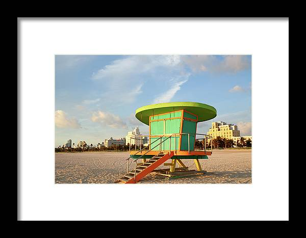 Dawn Framed Print featuring the photograph Lifeguard Station At Dawn, South Beach by Travelif