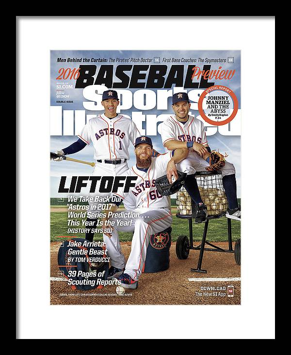 Magazine Cover Framed Print featuring the photograph Liftoff, 2016 Mlb Baseball Preview Issue Sports Illustrated Cover by Sports Illustrated
