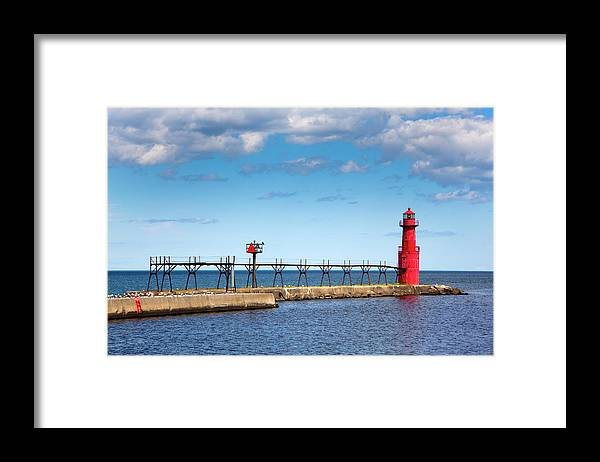 Lake Michigan Framed Print featuring the photograph Lighthouse And Pier On Lake Michigan by Jamesbrey