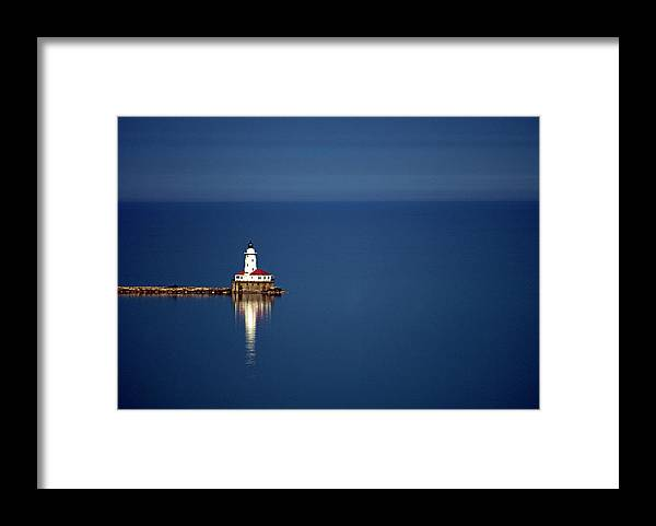 Outdoors Framed Print featuring the photograph Lighthouse On A Lake by By Ken Ilio