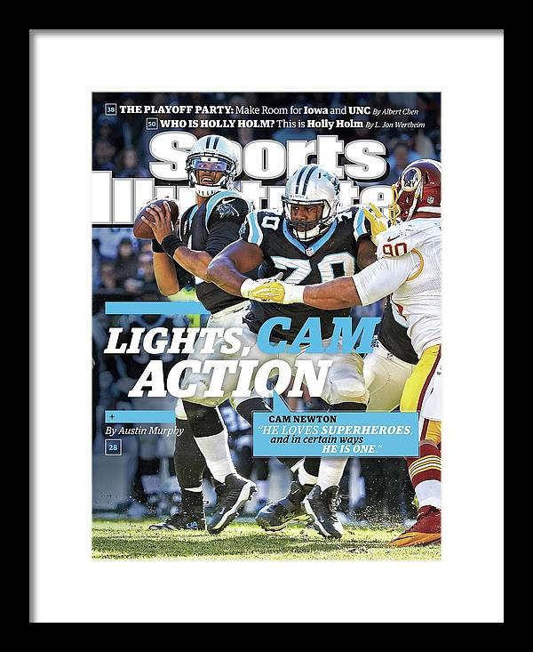 Magazine Cover Framed Print featuring the photograph Lights, Cam Action Cam Newton Sports Illustrated Cover by Sports Illustrated