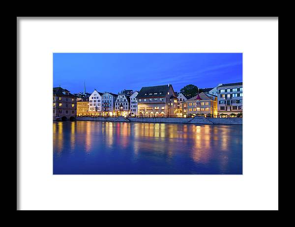 Zurich Framed Print featuring the photograph Limmat River Waterfront In Downtown by Benedek
