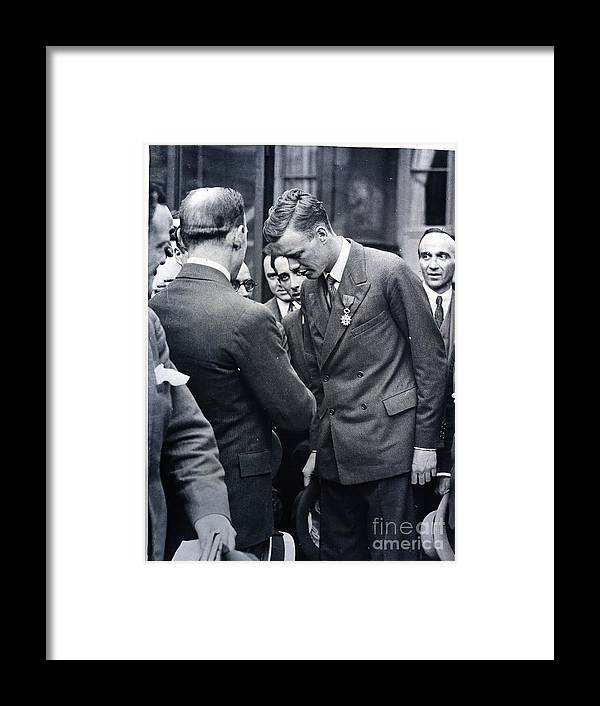 People Framed Print featuring the photograph Lindbergh Receiving Medal For Flight by Bettmann
