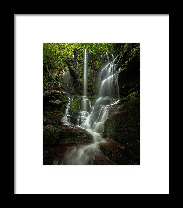 Linville Gorge Framed Print featuring the photograph Linville Gorge - Waterfall by Mike Koenig