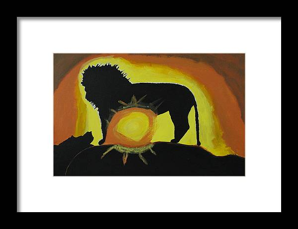 Lion Framed Print featuring the painting Lion Heart by Sonye Locksmith