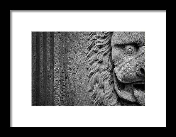 Lion Framed Print featuring the photograph Lion Statue Portrait by Nathan Bush