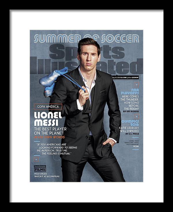 Magazine Cover Framed Print featuring the photograph Lionel Messi The Best Player On The Planet Sports Illustrated Cover by Sports Illustrated