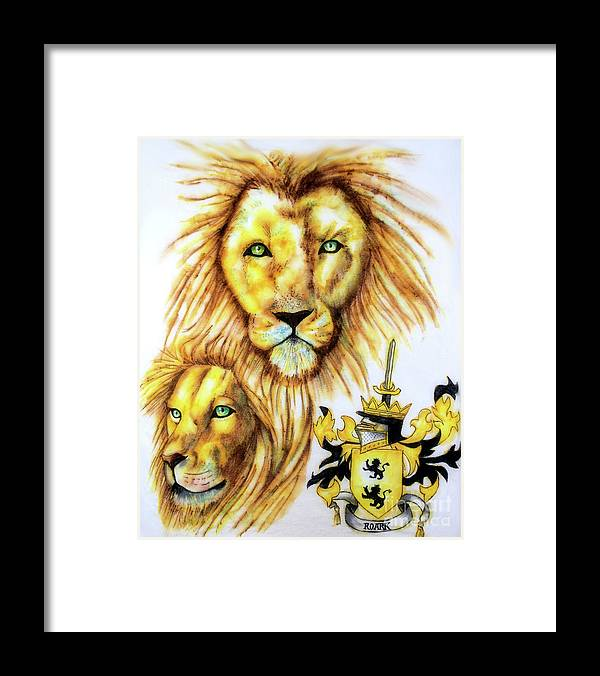 Sharpie Art Framed Print featuring the drawing Lions Roark Crest by Scarlett Royal