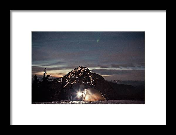 Camping Framed Print featuring the photograph Lit Tent At Night by Christopher Kimmel