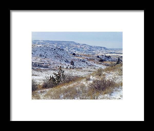 North Dakota Framed Print featuring the photograph Little Missouri Winter Prairie by Cris Fulton