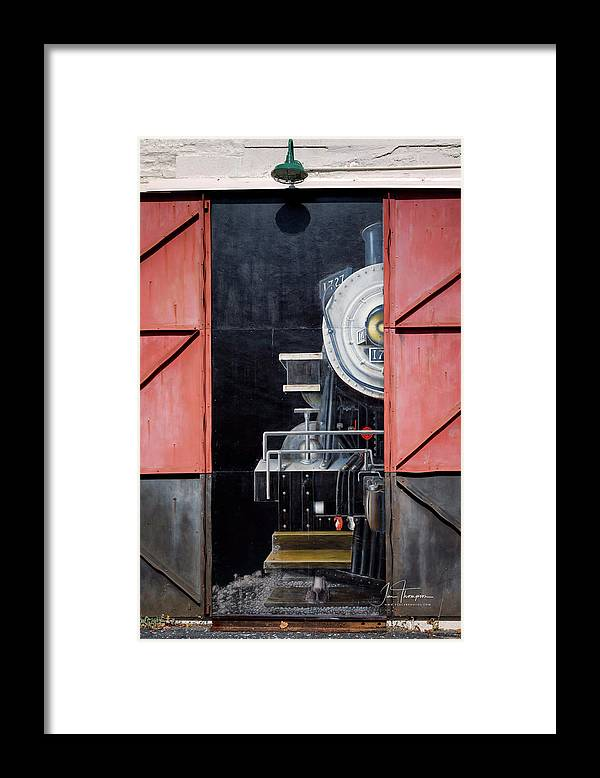 Locomotive Framed Print featuring the photograph Locomotive In The Shed by Jim Thompson