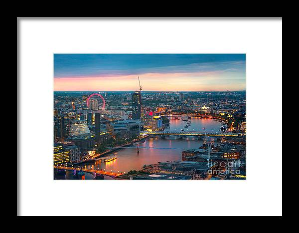 Capital Framed Print featuring the photograph London At Sunset, Panoramic View by Ir Stone