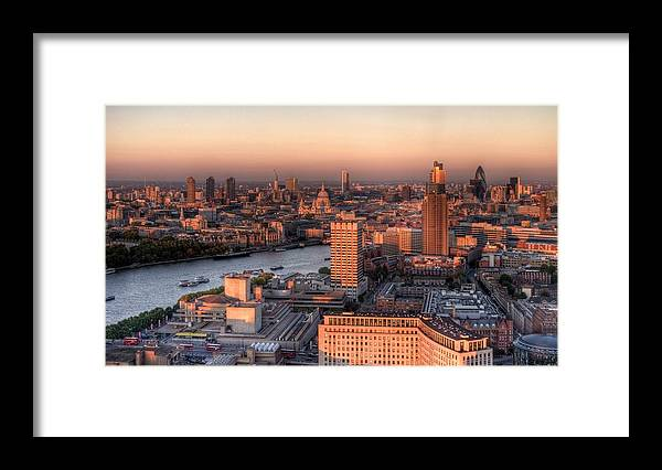 Cityscape Framed Print featuring the photograph London Cityscape At Sunset by Michael Lee