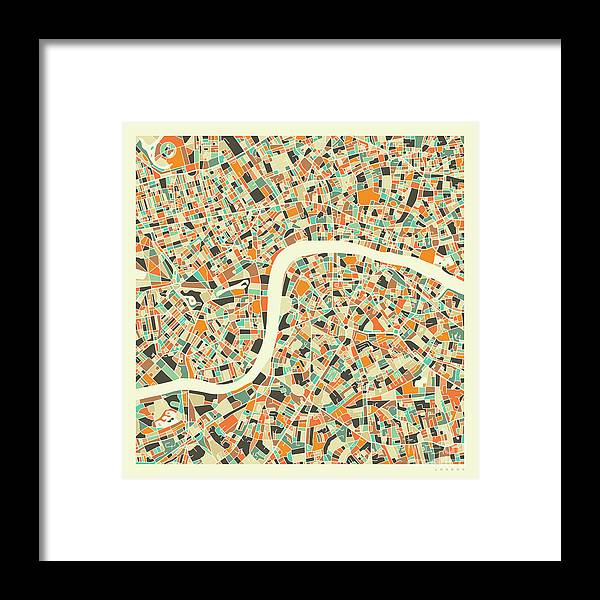 London Framed Print featuring the digital art London Map 1 by Jazzberry Blue
