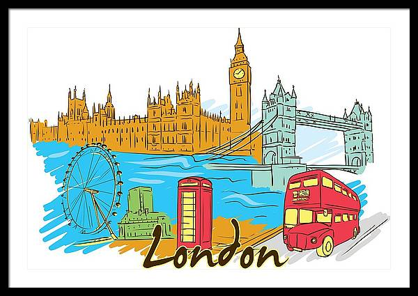 London Framed Print featuring the digital art London The City by Stanley Mathis