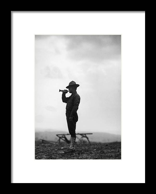 People Framed Print featuring the photograph Lone Bugler by Fpg