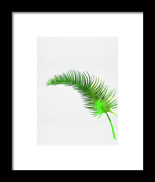 Tropical Leaf Framed Print featuring the mixed media Lonely Tropical Leaf by Naxart Studio