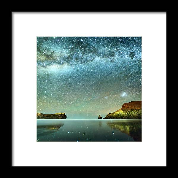 Galaxy Framed Print featuring the photograph Long Exposure Of Stars by Piskunov