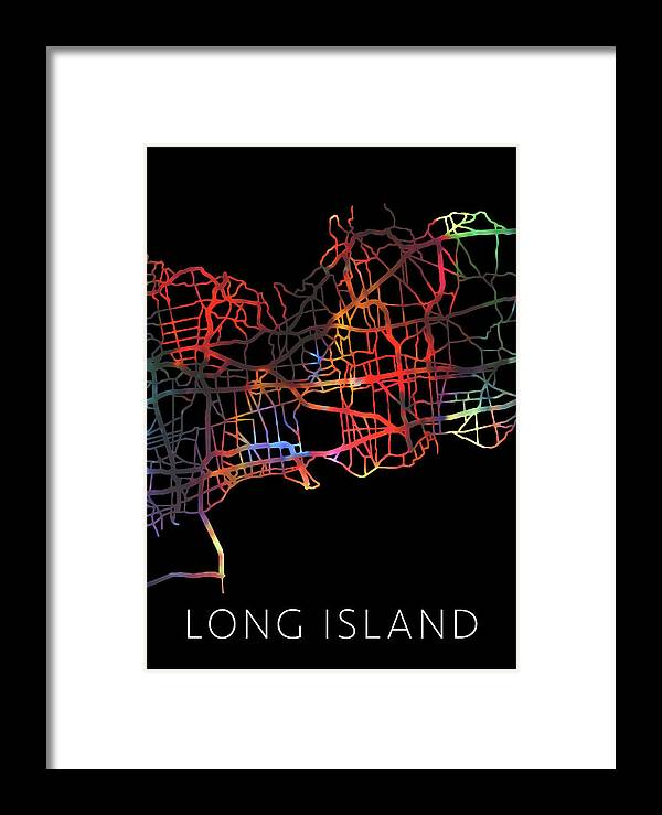 Long Island Framed Print featuring the mixed media Long Island New York Watercolor City Street Map Dark Mode by Design Turnpike
