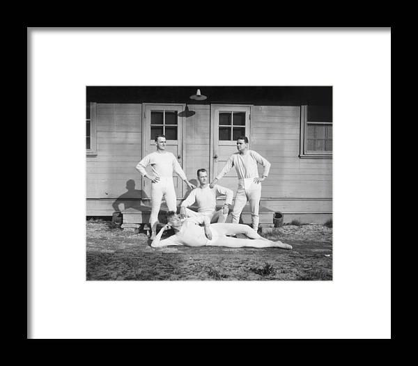 People Framed Print featuring the photograph Long Johns On by Archive Photos