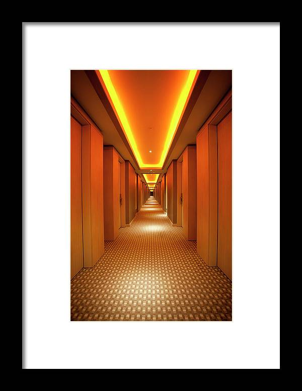 Long Framed Print featuring the photograph Long, Narrow Corridor With Retro Themed by Dogayusufdokdok