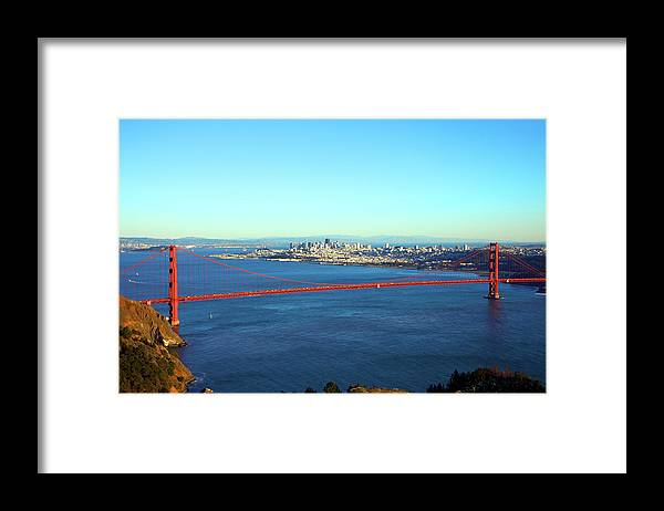 Downtown District Framed Print featuring the photograph Looking Down At The San Francisco Bridge by Ekash