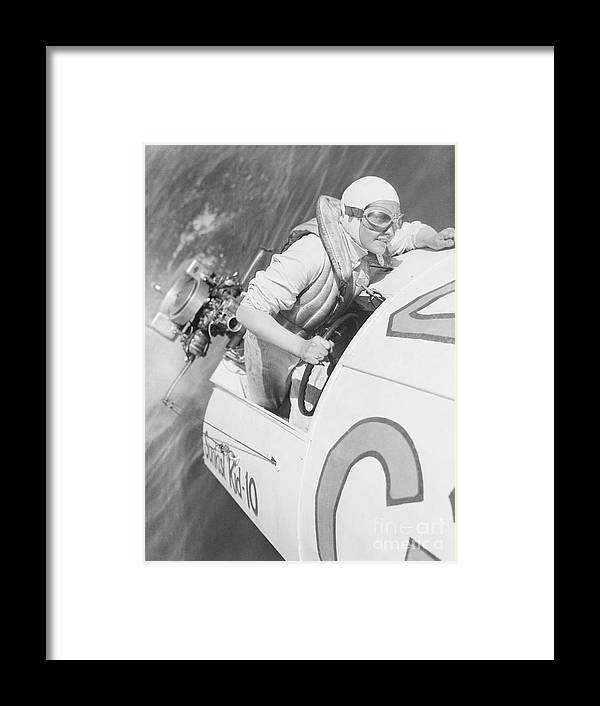 People Framed Print featuring the photograph Loretta Turnbull Racing by Bettmann