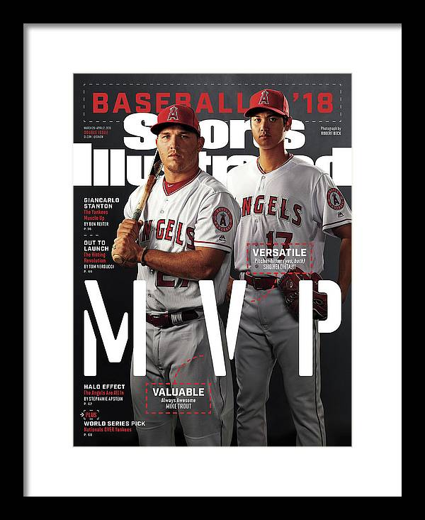 Tempe Diablo Stadium Framed Print featuring the photograph Los Angeles Angels Of Anaheim Mike Trout And Shohei Ohtani Sports Illustrated Cover by Sports Illustrated