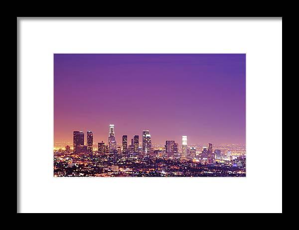 Clear Sky Framed Print featuring the photograph Los Angeles At Dusk by Dj Murdok Photos