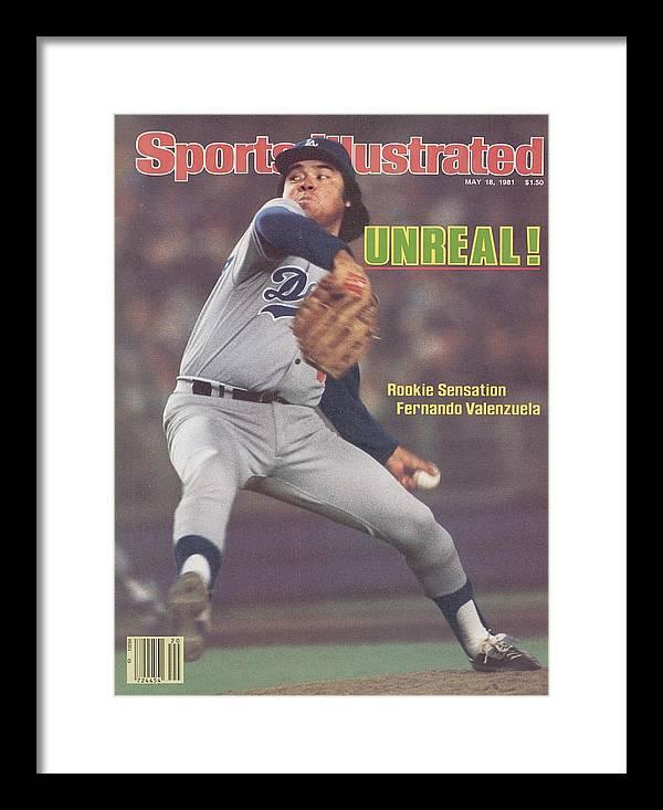 Magazine Cover Framed Print featuring the photograph Los Angeles Dodgers Fernando Valenzuela... Sports Illustrated Cover by Sports Illustrated