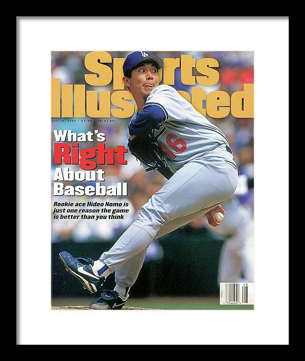 Magazine Cover Framed Print featuring the photograph Los Angeles Dodgers Hideo Nomo... Sports Illustrated Cover by Sports Illustrated