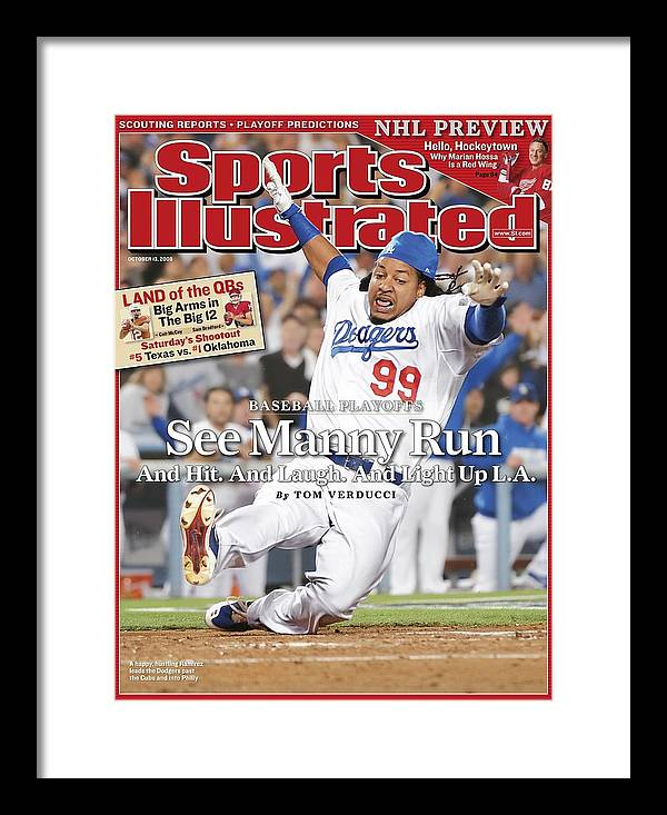 Magazine Cover Framed Print featuring the photograph Los Angeles Dodgers Manny Ramirez, 2008 Nl Division Series Sports Illustrated Cover by Sports Illustrated