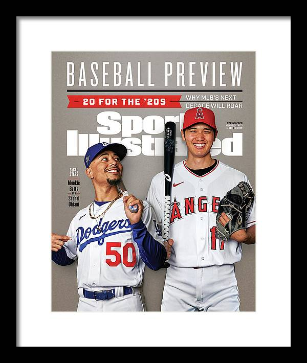 Magazine Cover Framed Print featuring the photograph Los Angeles Dodgers Mookie Betts And Los Angeles Angels Sports Illustrated Cover by Sports Illustrated