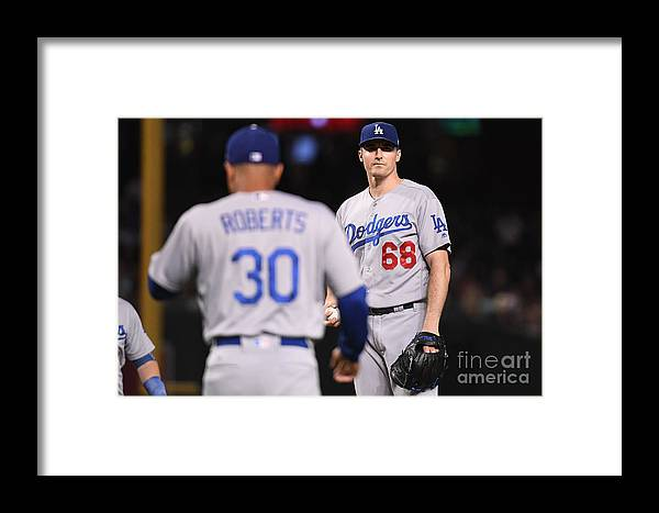 Ross Stripling Framed Print featuring the photograph Los Angeles Dodgers V Arizona by Jennifer Stewart