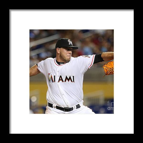People Framed Print featuring the photograph Los Angeles Dodgers V Florida Marlins by Marc Serota