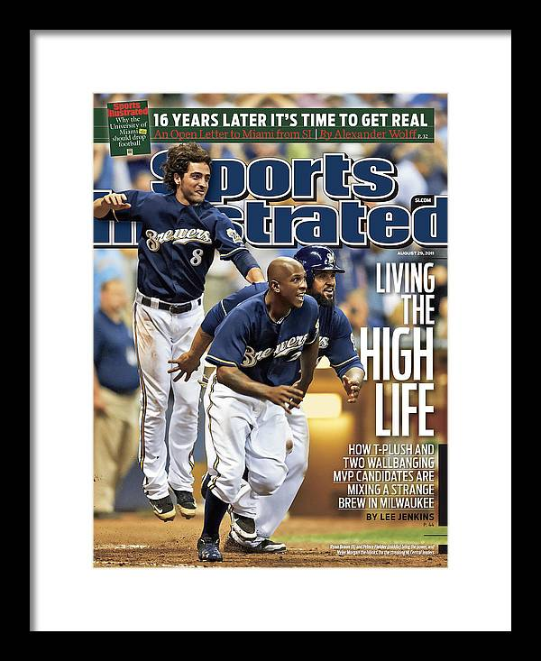 Magazine Cover Framed Print featuring the photograph Los Angeles Dodgers V Milwaukee Brewers Sports Illustrated Cover by Sports Illustrated