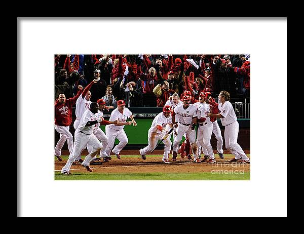 Playoffs Framed Print featuring the photograph Los Angeles Dodgers V Philadelphia by Jeff Zelevansky