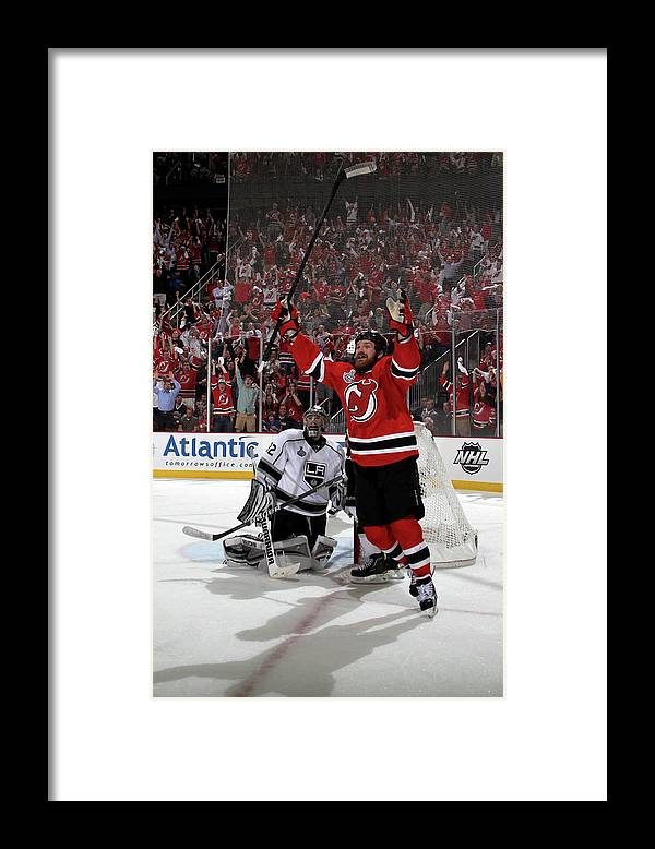 Playoffs Framed Print featuring the photograph Los Angeles Kings V New Jersey Devils - by Bruce Bennett