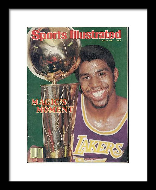 Magazine Cover Framed Print featuring the photograph Los Angeles Lakers Earvin Magic Johnson, 1980 Nba Finals Sports Illustrated Cover by Sports Illustrated