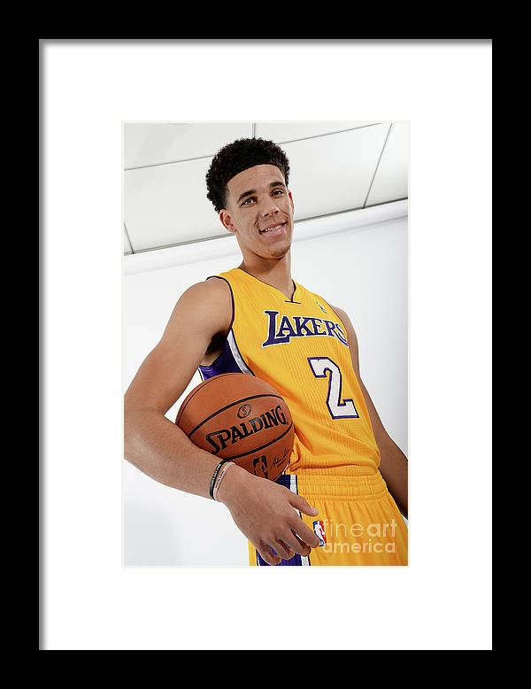 Following Framed Print featuring the photograph Los Angeles Lakers Introduce Lonzo Ball by Andrew D. Bernstein