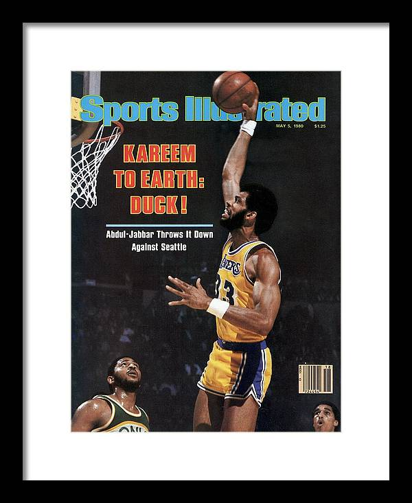 Magazine Cover Framed Print featuring the photograph Los Angeles Lakers Kareem Abdul-jabbar, 1980 Nba Western Sports Illustrated Cover by Sports Illustrated