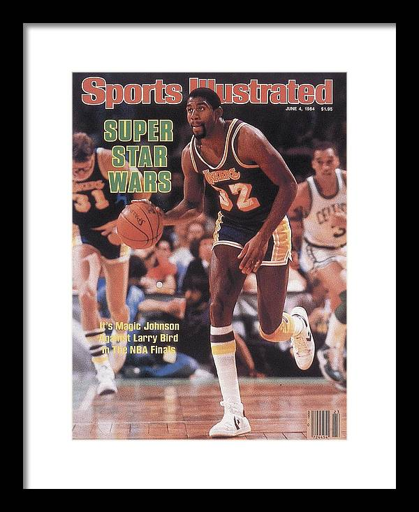 Playoffs Framed Print featuring the photograph Los Angeles Lakers Magic Johnson, 1984 Nba Finals Sports Illustrated Cover by Sports Illustrated