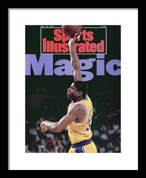 Playoffs Framed Print featuring the photograph Los Angeles Lakers Magic Johnson, 1990 Nba Western Sports Illustrated Cover by Sports Illustrated