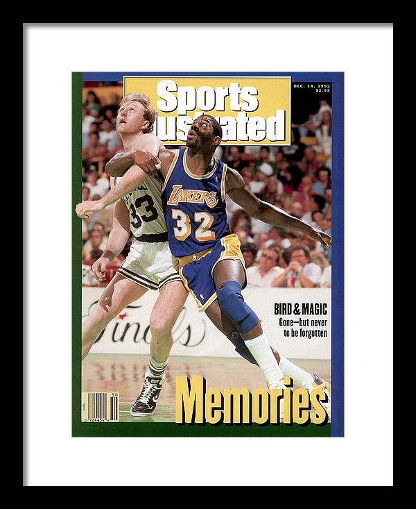 Playoffs Framed Print featuring the photograph Los Angeles Lakers Magic Johnson And Boston Celtics Larry Sports Illustrated Cover by Sports Illustrated