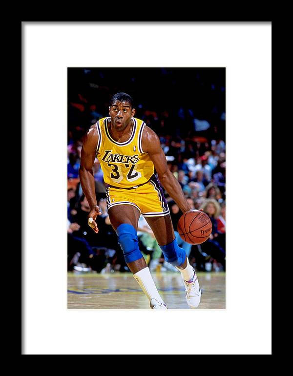 e1d884227 1980-1989 Framed Print featuring the photograph Los Angeles Lakers Magic  Johnson by Andy Hayt