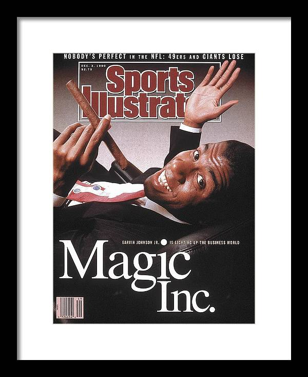 Magazine Cover Framed Print featuring the photograph Los Angeles Lakers Magic Johnson Sports Illustrated Cover by Sports Illustrated