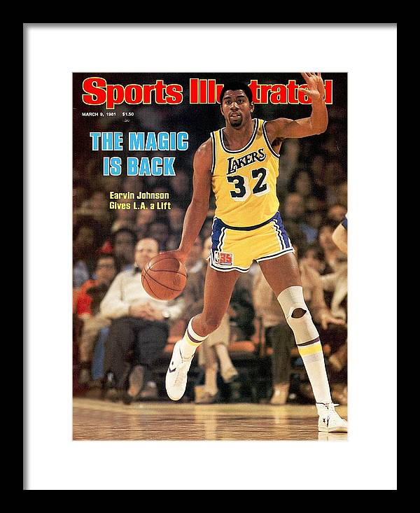 1980-1989 Framed Print featuring the photograph Los Angeles Lakers Magic Johnson... Sports Illustrated Cover by Sports Illustrated