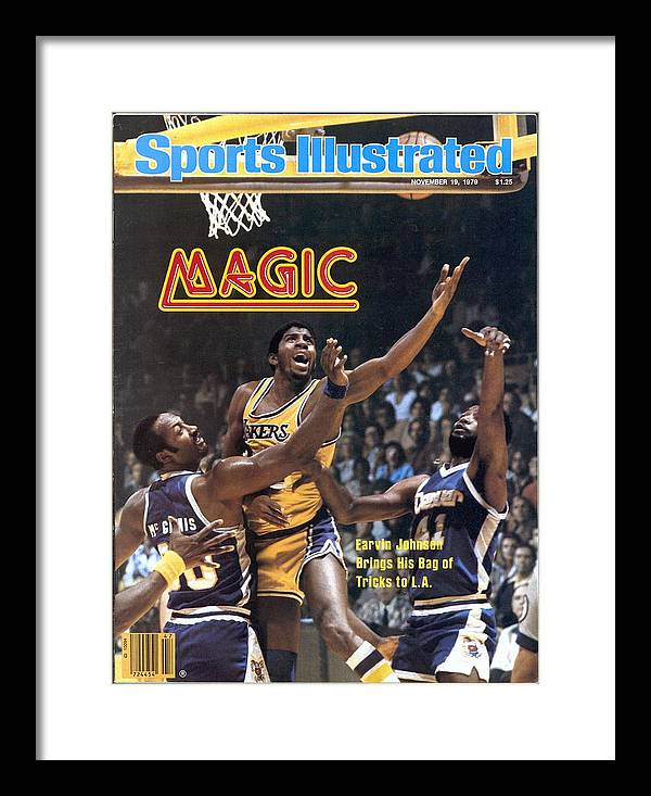 Magazine Cover Framed Print featuring the photograph Los Angeles Lakers Magic Johnson... Sports Illustrated Cover by Sports Illustrated